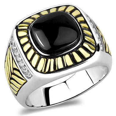 TK3294 - Two-Tone IP Gold (Ion Plating) Stainless Steel Ring with Synthetic Onyx in Jet