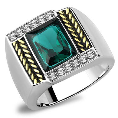 TK3295 - Two-Tone IP Gold (Ion Plating) Stainless Steel Ring with Synthetic Synthetic Glass in Blue Zircon
