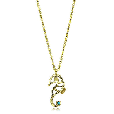 TK3296 - IP Gold(Ion Plating) Stainless Steel Necklace with Top Grade Crystal  in Blue Zircon