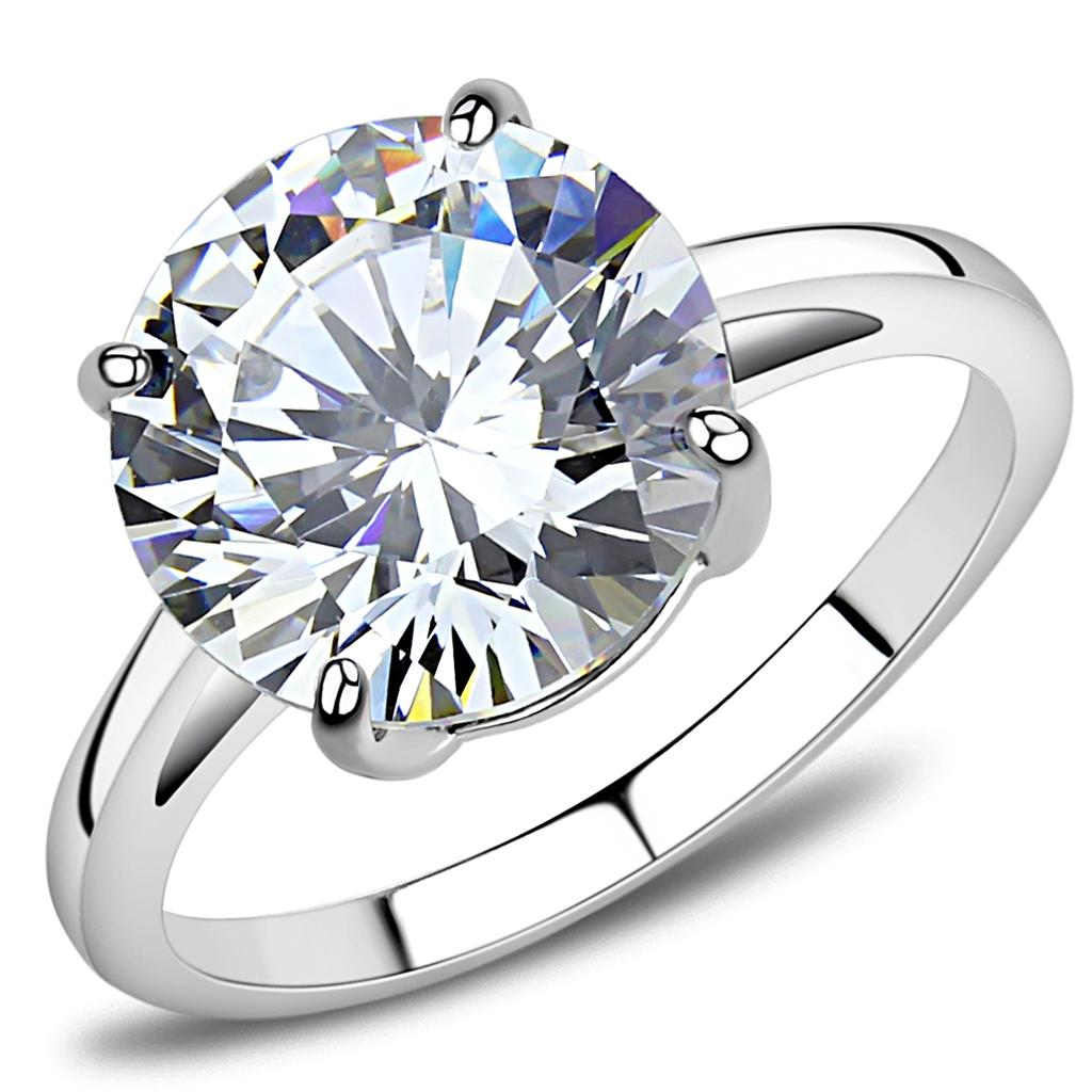TK3428 - High polished (no plating) Stainless Steel Ring with AAA Grade CZ  in Clear