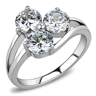 TK3430 - High polished (no plating) Stainless Steel Ring with AAA Grade CZ  in Clear