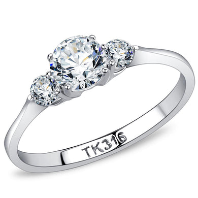 TK3431 - High polished (no plating) Stainless Steel Ring with AAA Grade CZ  in Clear