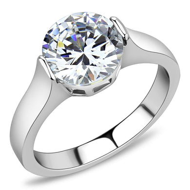 TK3432 - High polished (no plating) Stainless Steel Ring with AAA Grade CZ  in Clear