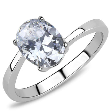 TK3433 - High polished (no plating) Stainless Steel Ring with AAA Grade CZ  in Clear