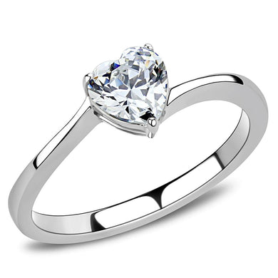 TK3434 - High polished (no plating) Stainless Steel Ring with AAA Grade CZ  in Clear