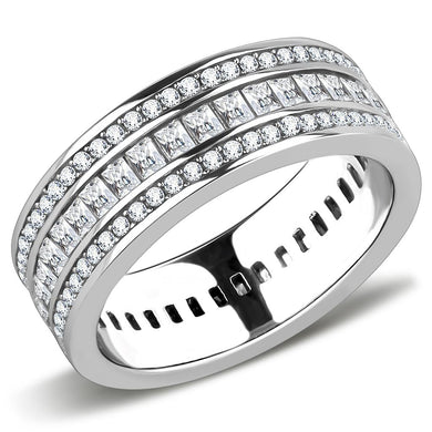 TK3435 - High polished (no plating) Stainless Steel Ring with AAA Grade CZ  in Clear