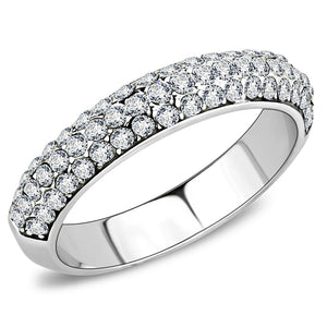 TK3437 - High polished (no plating) Stainless Steel Ring with Top Grade Crystal  in Clear