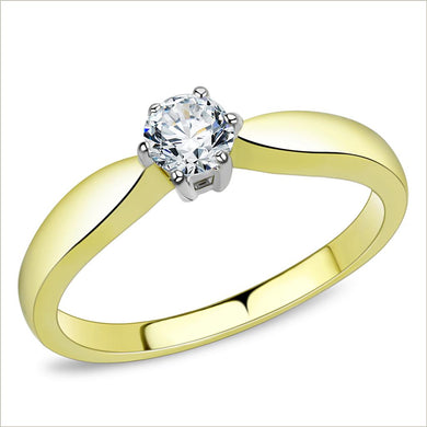 TK3440 - Two-Tone IP Gold (Ion Plating) Stainless Steel Ring with AAA Grade CZ  in Clear