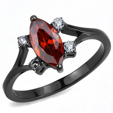 TK3445 - IP Black(Ion Plating) Stainless Steel Ring with AAA Grade CZ  in Garnet
