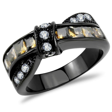 TK3452 - IP Black(Ion Plating) Stainless Steel Ring with Synthetic Synthetic Glass in Brown