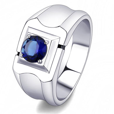 TK3459 - High polished (no plating) Stainless Steel Ring with Synthetic Synthetic Glass in Montana