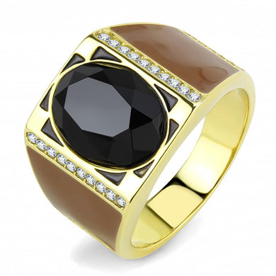 TK3465 - IP Gold(Ion Plating) Stainless Steel Ring with Synthetic Onyx in Jet
