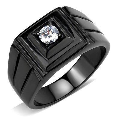 TK3466 - IP Black(Ion Plating) Stainless Steel Ring with AAA Grade CZ  in Clear