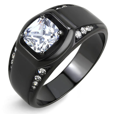 TK3467 - IP Black(Ion Plating) Stainless Steel Ring with AAA Grade CZ  in Clear