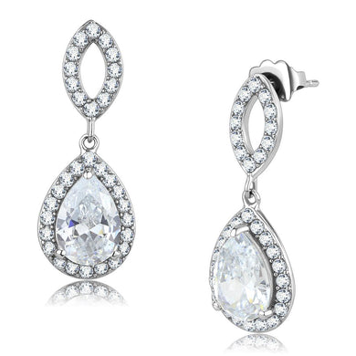 TK3474 - High polished (no plating) Stainless Steel Earrings with AAA Grade CZ  in Clear