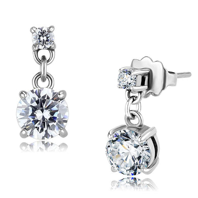 TK3476 - High polished (no plating) Stainless Steel Earrings with AAA Grade CZ  in Clear
