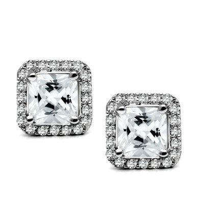 TK3477 - High polished (no plating) Stainless Steel Earrings with AAA Grade CZ  in Clear