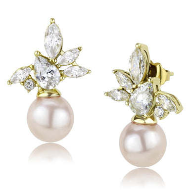 TK3479 - IP Gold(Ion Plating) Stainless Steel Earrings with Synthetic Pearl in Light Rose