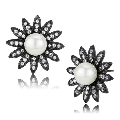 TK3484 - IP Black(Ion Plating) Stainless Steel Earrings with Synthetic Pearl in White