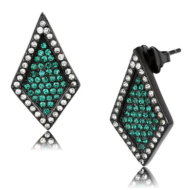 TK3486 - IP Black(Ion Plating) Stainless Steel Earrings with Top Grade Crystal  in Emerald