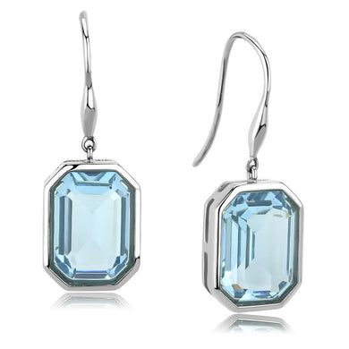 TK3487 - High polished (no plating) Stainless Steel Earrings with Top Grade Crystal  in Sea Blue