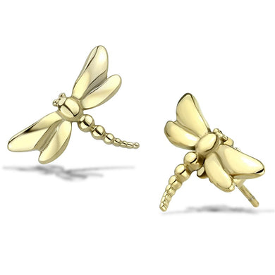 TK3491 - IP Gold(Ion Plating) Stainless Steel Earrings with No Stone