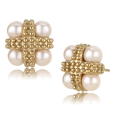 TK3495 - IP Rose Gold(Ion Plating) Stainless Steel Earrings with Synthetic Pearl in Light Rose