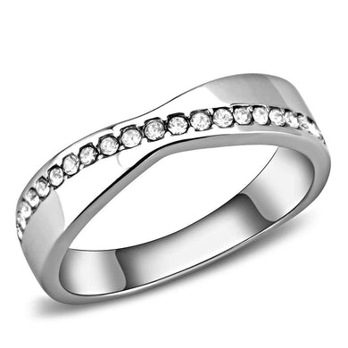 TK3501 - High polished (no plating) Stainless Steel Ring with Top Grade Crystal  in Clear