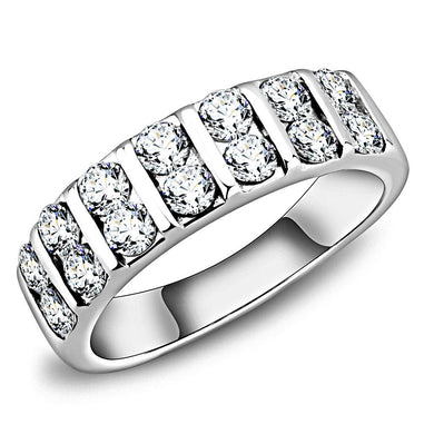 TK3504 - High polished (no plating) Stainless Steel Ring with AAA Grade CZ  in Clear