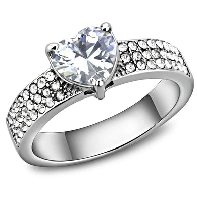 TK3505 - High polished (no plating) Stainless Steel Ring with AAA Grade CZ  in Clear