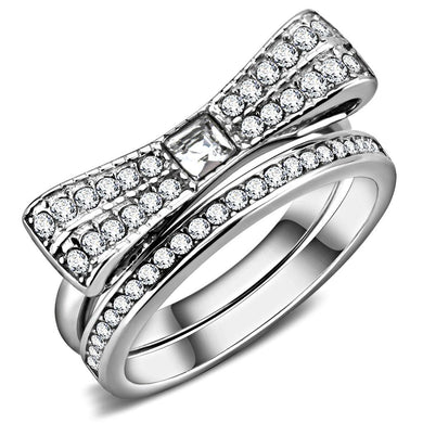 TK3506 - High polished (no plating) Stainless Steel Ring with Top Grade Crystal  in Clear