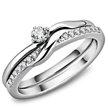 Load image into Gallery viewer, TK3508 - High polished (no plating) Stainless Steel Ring with AAA Grade CZ  in Clear
