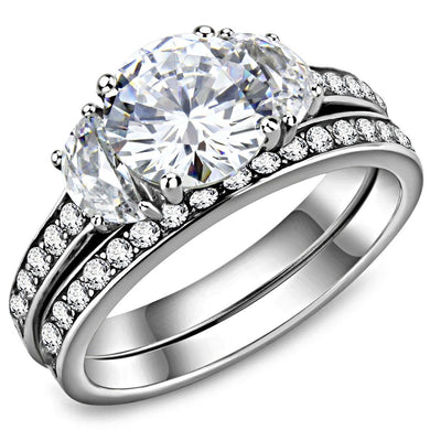 TK3509 - High polished (no plating) Stainless Steel Ring with AAA Grade CZ  in Clear