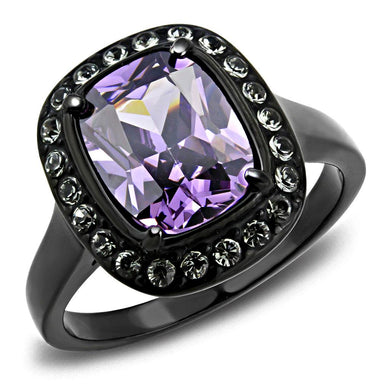 TK3512 - IP Black(Ion Plating) Stainless Steel Ring with AAA Grade CZ  in Amethyst