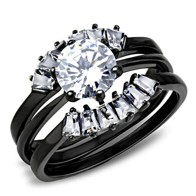 TK3514 - IP Black(Ion Plating) Stainless Steel Ring with AAA Grade CZ  in Clear