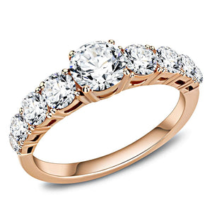 TK3516 - IP Rose Gold(Ion Plating) Stainless Steel Ring with AAA Grade CZ  in Clear