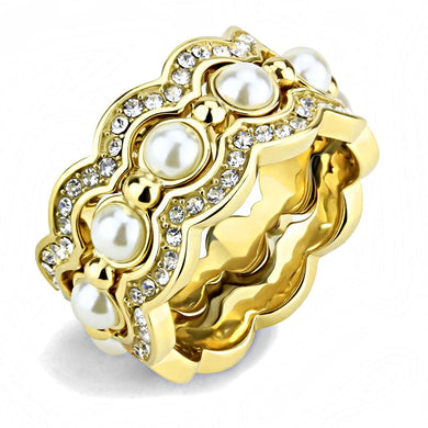 TK3520 - IP Gold(Ion Plating) Stainless Steel Ring with Synthetic Pearl in White
