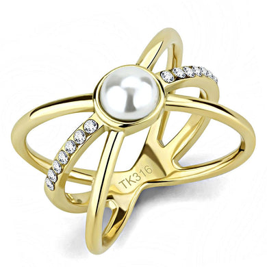 TK3522 - IP Gold(Ion Plating) Stainless Steel Ring with Synthetic Pearl in White