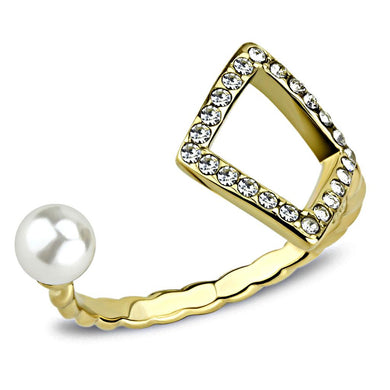 TK3523 - IP Gold(Ion Plating) Stainless Steel Ring with Synthetic Pearl in White