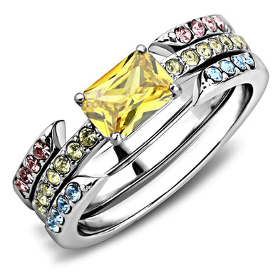 TK3526 - High polished (no plating) Stainless Steel Ring with AAA Grade CZ  in Topaz