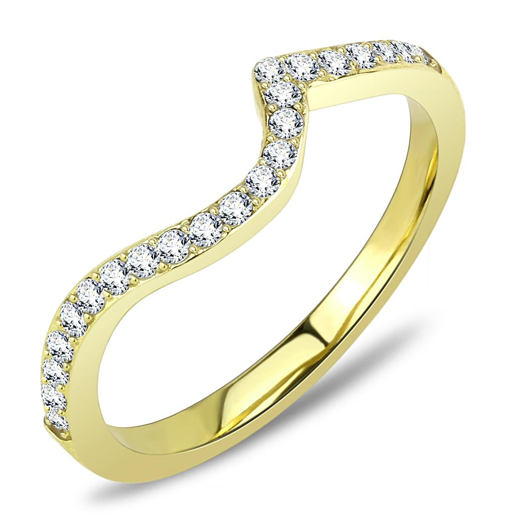 TK3527 - IP Gold(Ion Plating) Stainless Steel Ring with Top Grade Crystal  in Clear