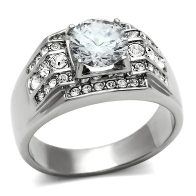 TK352 - High polished (no plating) Stainless Steel Ring with AAA Grade CZ  in Clear