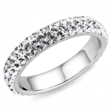 TK3533 - High polished (no plating) Stainless Steel Ring with Top Grade Crystal  in Clear