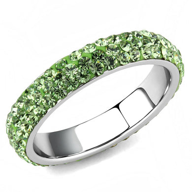 TK3537 - High polished (no plating) Stainless Steel Ring with Top Grade Crystal  in Peridot
