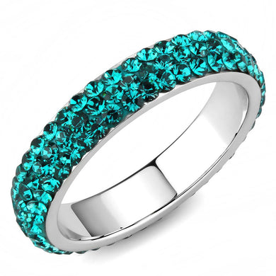 TK3538 - High polished (no plating) Stainless Steel Ring with Top Grade Crystal  in Blue Zircon