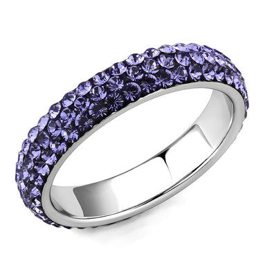 TK3540 - High polished (no plating) Stainless Steel Ring with Top Grade Crystal  in Tanzanite