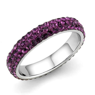 TK3541 - High polished (no plating) Stainless Steel Ring with Top Grade Crystal  in Amethyst