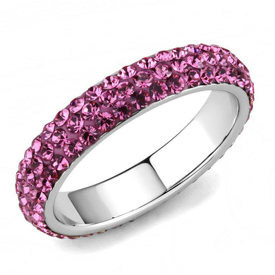 TK3542 - High polished (no plating) Stainless Steel Ring with Top Grade Crystal  in Rose