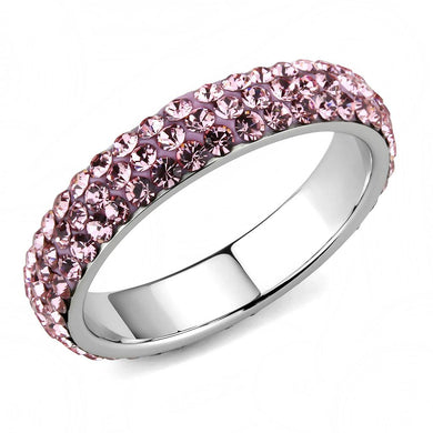 TK3543 - High polished (no plating) Stainless Steel Ring with Top Grade Crystal  in Light Rose