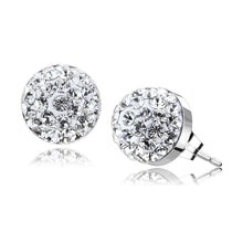 Load image into Gallery viewer, TK3544 - High polished (no plating) Stainless Steel Earrings with Top Grade Crystal  in Clear